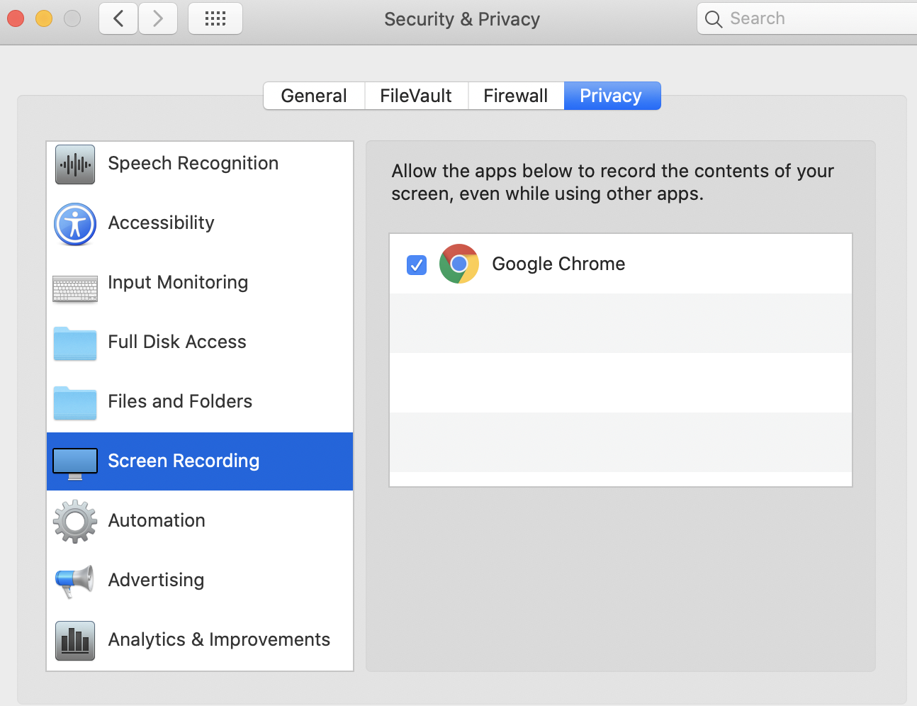 Screen Recording In Privacy Settings Apple Community