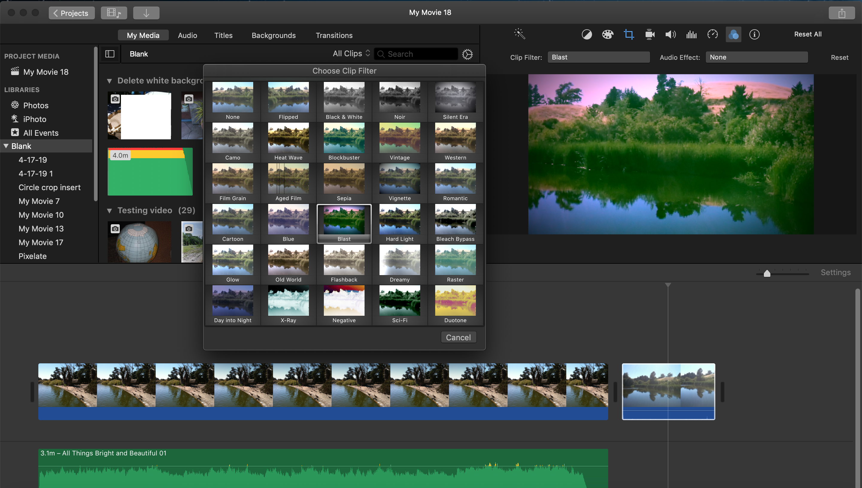 iMovie effects not working on jpeg images? - Apple Community