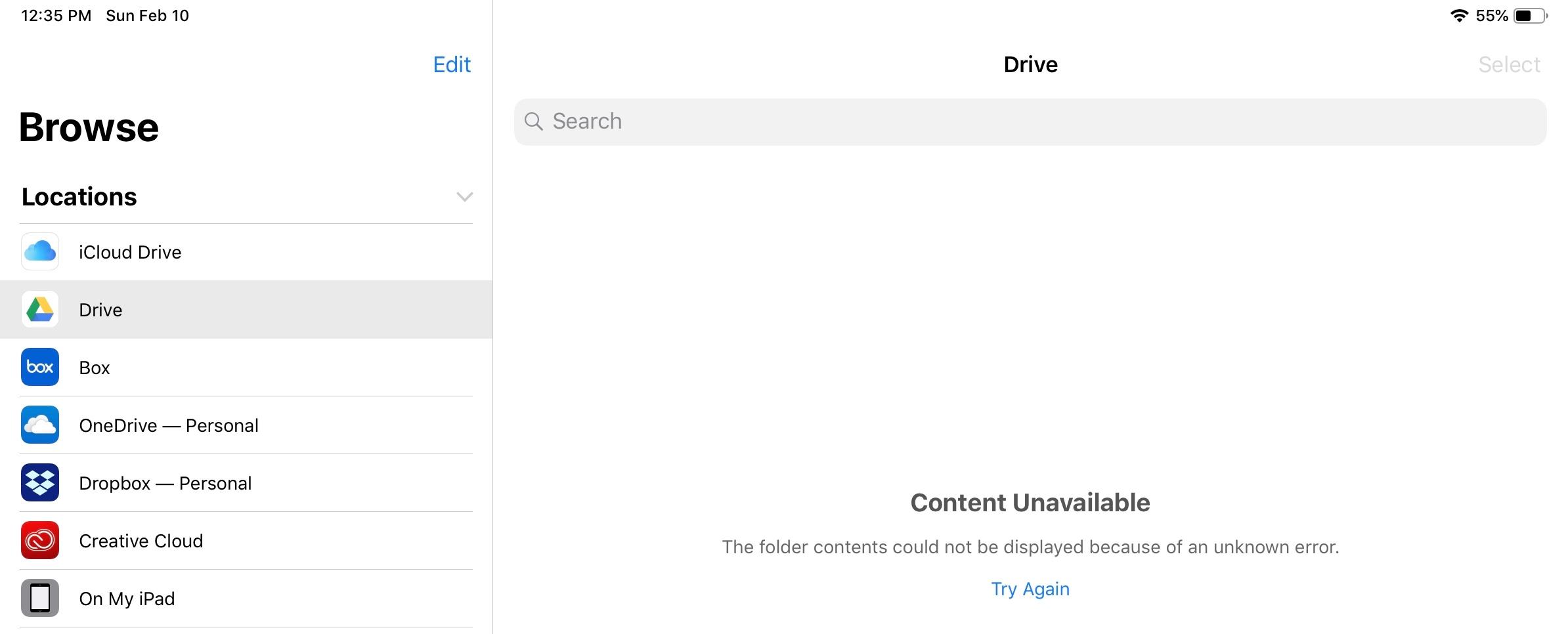 Files App & Google Drive Error - Apple Community