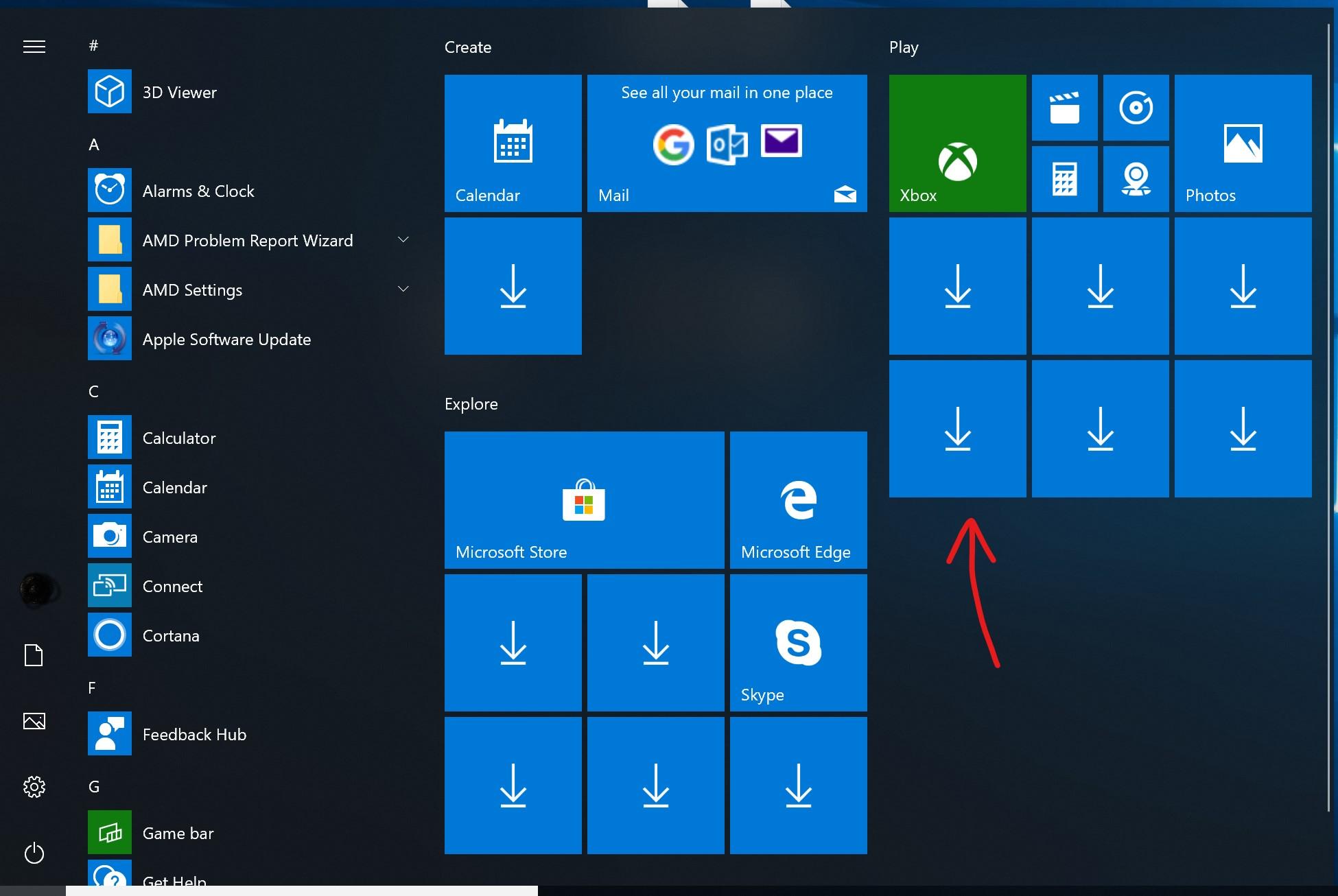 1809 Menu start menu down arrows after windows 10 i… - apple community