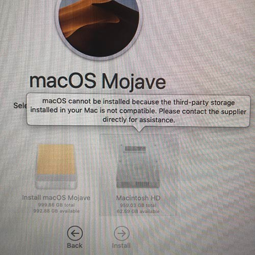 Mojave Install Problem on Mac Pro with OW… - Apple Community
