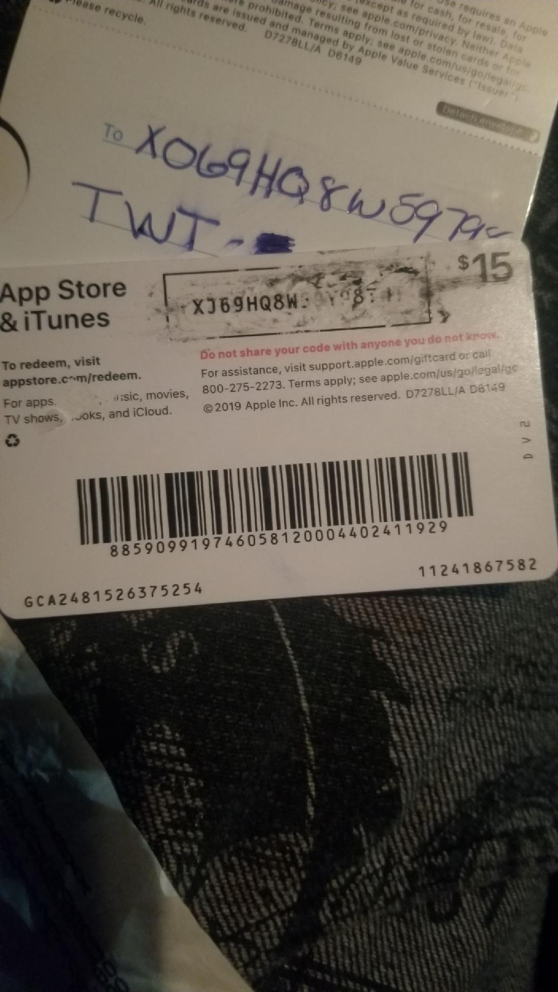 My card redemption code was scratched off - Apple Community