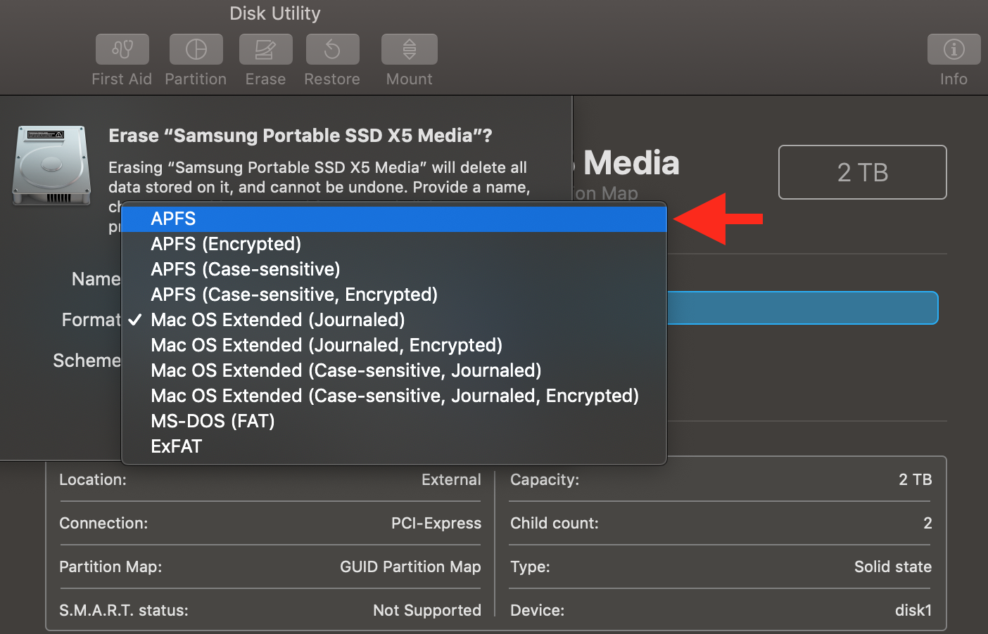 Samsung X5 as boot disk? (no GUID selecti… - Apple Community
