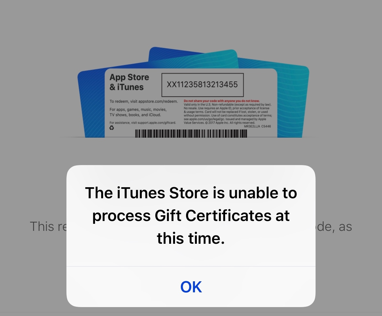 Store is unable to process at itunes the this time purchases