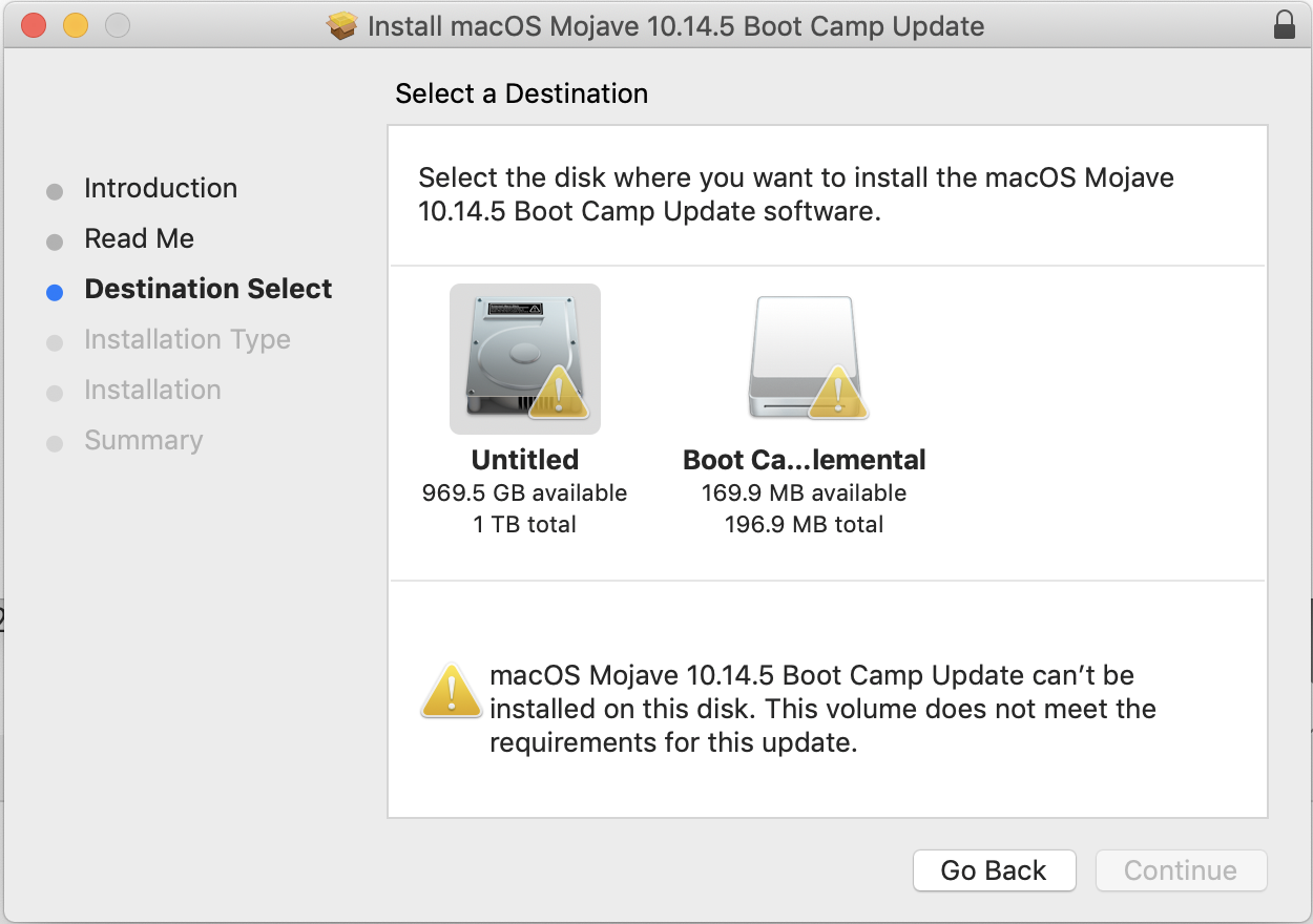 Mojave 10 14 5 Boot Camp update won't… - Apple Community