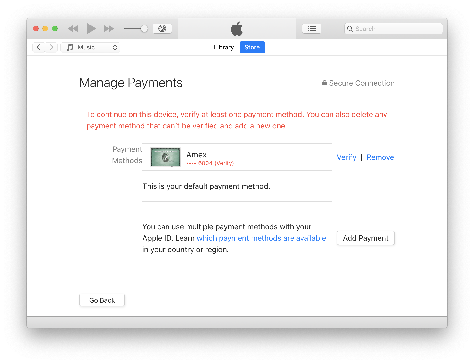 cant add credit card to apple account - Apple Community